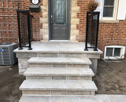 Flagstone porch with flagstone steps
