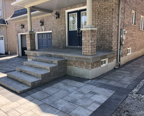 Flagstone porch with natural stone steps