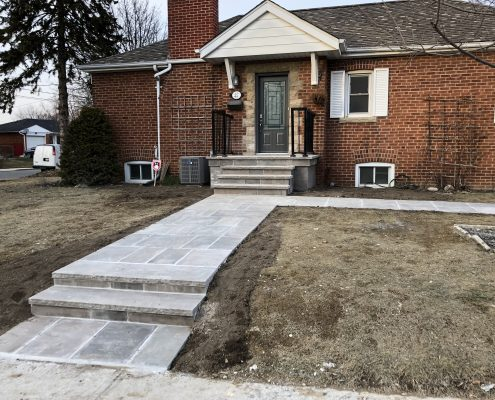Flagstone walkway with flagstone porch