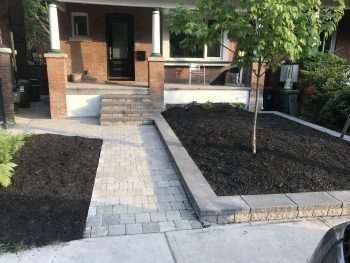 Front walkway with flowerbed