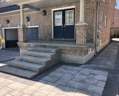 Natural stone steps at the front